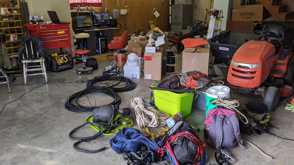 September 21, 2020: It takes a lot of gear to get cameras in place! This is a small sample of everything we use: climbing gear, ropes, cameras, electronics, cable, conduit, tools, tape, paint, fasteners...and so much more!